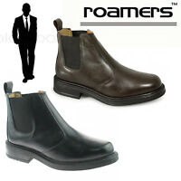Roamers Mens Chelsea Boots Twin Gusset Black Brown Leather Smart Casual Shoes