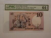 Israel 10 Lirot 1958 Scientist P32b GEM UNC PMG64 Scientist Red Serial TDLR