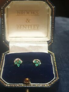 9 ct gold Emerald and diamond Stud earrings