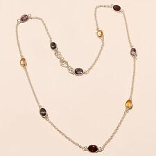 925 Sterling Silver Amethyst + Lemon Topaz Gemstone Long Chain Women Nacklace