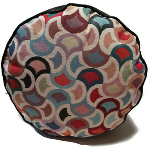 GEOMETRIC UPHOLSTERY  FABRIC  FAUX LEATHER POUFFE  FLOOR CUSHION