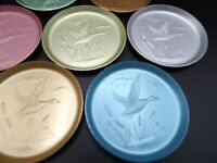Set of 8 Aluminum Metal Coasters ~ Colored Duck Mallard Water Cattails Vintage