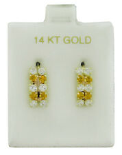 YELLOW TOPAZ  & WHITE SAPPHIRE DANGLING EARRINGS 14K GOLD ** New With Tag **