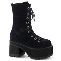 "Demonia 3.75"" Platform Heel Black Velvet Punk Ankle Boots 6 7 8 9 10 11 12"