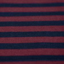 Navy Blue & Dark Red Stripe Single Jersey Knit Fabric 100 Cotton - by The Metre