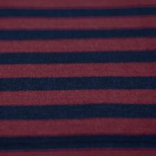 BLU NAVY & Rosso scuro striscia jersey a maglia tessuto 100% cotone - AL METRO