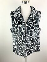 Chicos Faux Fur Vest Womens 3 Black White Animal Print Soft Plush Warm Winter