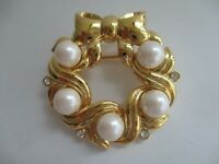 Marvella Brooch Gold Toned Metal Wreath w/ Bow Crystals and Faux Pearls Pin