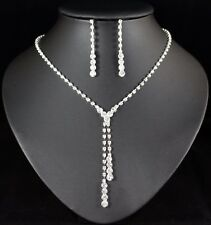 Drops Clear Austrian Rhinestone Necklace Earring Set Bridal Prom Pageant N77
