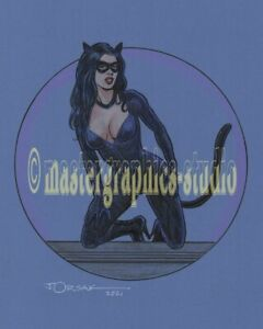 Sexy CAT GIRL color original fantasy pin-up art by JOE ORSAK