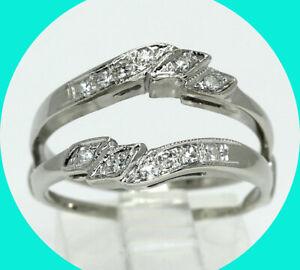 .15CT VS diamond insert ring enhancer wrap guard 14K white gold sz 7.25