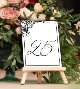 Peacock Design Table Number Home Décor for Wedding, Receptions, Parties, Banquet