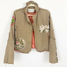 Papparazzi Floral Embroidered Jacket Blazer Size Medium Fringe Brown Long Slvs