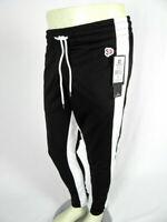 Mens Southpole Skinny Jogger Trackpants Black with Bold White Leg Stripes