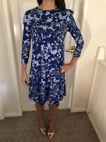 M&S Collection Blue Patterned Long Sleeved Dress Size 8