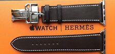 Apple Hermes Strap - 44mm Ebene Barenia Leather Single Tour Deployment Buckle