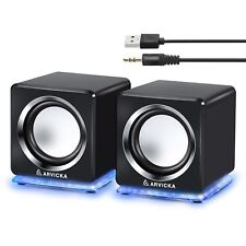 ARVICKA Blue LED USB Speakers- Wired Laptop Speakers 2.0 Channel Small Comp