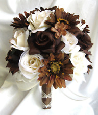 17 piece Bouquet wedding flowers centerpiece CREAM BROWN Daisy Bouquets package