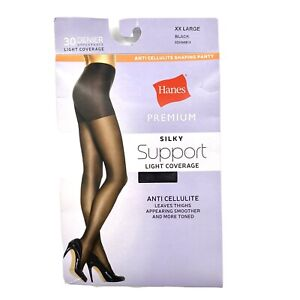 Hanes Premium Women's Silky Support Light Coverage Anti Cellulite Thighs XXL Blk