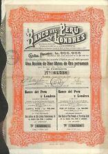 PEROU / SCRIPOPHILIE / BANCO DEL PERU Y LONDRES / ACTION BOURSE 1927