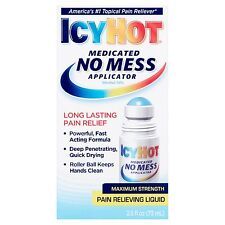 New Icy Hot Medicated No Mess Applicator Maximum Strength Pain Reliever 2.5 OZ.