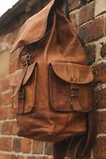 Large Vintage Style Real Genuine Leather Bag Rucksack Backpack Dark Brown *