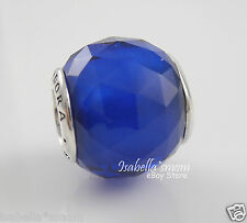 GEOMETRIC FACETS Authentic PANDORA Silver/ROYAL BLUE CRYSTAL Charm/Bead NEW