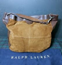 RALPH LAUREN COLLECTION LARGE SUEDE LEATHER HOBO BAG w  REIN BRAIDE HANDLE a109554cb0ea6