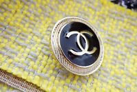 🖤 CHANEL BUTTONS  brooch lot 4 pieces 1 inch 26 mm  black & gold Metal XL