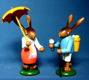 Osterhasen Paar groß 21cm handgedrechselt, fein bemalt Handwerkskunst Erzgebirge