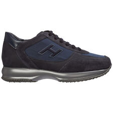 HOGAN MEN'S SHOES LEATHER TRAINERS SNEAKERS NEW INTERACTIVE BLU C8E
