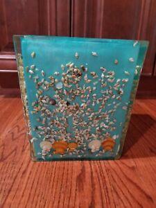 Sea shells in Blue Acrylic Resin Trash Waste Can Basket Bathroom Ocean Beach
