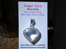 BLUE TOPAZ Gem Quality with Angel Aura Quartz Silver HEART Pendant! Great Gift!