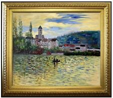 Framed, Monet the Seine at Vetheuil Repro, Hand Painted Oil Painting 20x24in