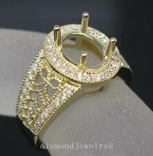Oval 7.0×9.0mm Solid 14K Yellow Gold Natural Diamond Semi Mount Engagement Ring