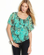 NWT-INC Macy's ~MEDIUM~ Exotic Paisley 2-Piece Top & Camisole MED Flutter Sleeve
