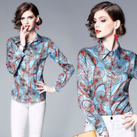 2019 Spring Summer Floral Print Tie Neck Casual Long Sleeve Women Shirt Blouse
