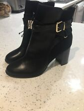 H & M Black Ankle Boots Buckle Size Uk 6 New