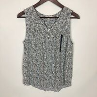 NWT Lucky Brand Ditsy Blue Green Floral Sleeveless Tank Top Women's Size Small