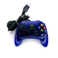 Original Microsoft Xbox Controller S Wired Blue w/ Cable Tested (See Stick Wear)