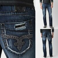 Mens Rock Revival Jeans Straight Leg Black Rhinestone Luckett Relaxed Stretch