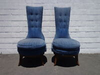 2 Chairs Fabulous Vintage Hollywood Regency High Wing Back Head of Table Custom