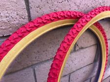 "PAIR of 26"" Red Gumwall BMX CRUISER Bicycle Mountain Bike Tires & Tubes 26X1.75"