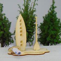 Geldgeschenk Stand Up Brett mit Paddel aus Holz Personalisiert zum Geburtstag