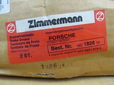 Porsche Set of Two Brake Drums Zimmermann 460 1826 00 460182600 NOS