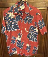 Cooke Street Honolulu Men L Hawaiian Aloha Shirt Reverse Print 100% Cotton Red