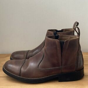 Rieker boots size 41 7.5 brown leather flat ankle zip mens