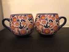 Leah Reena Goren Floral Flowers Mug Lot of 2