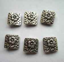 25pcs Tibetan silver square flowers Spacer bead 10x10 mm