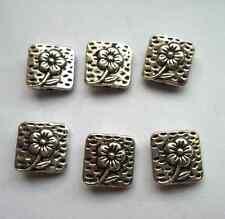 25pcs Tibetan silver square flowers Spacer bead 10x10 mm